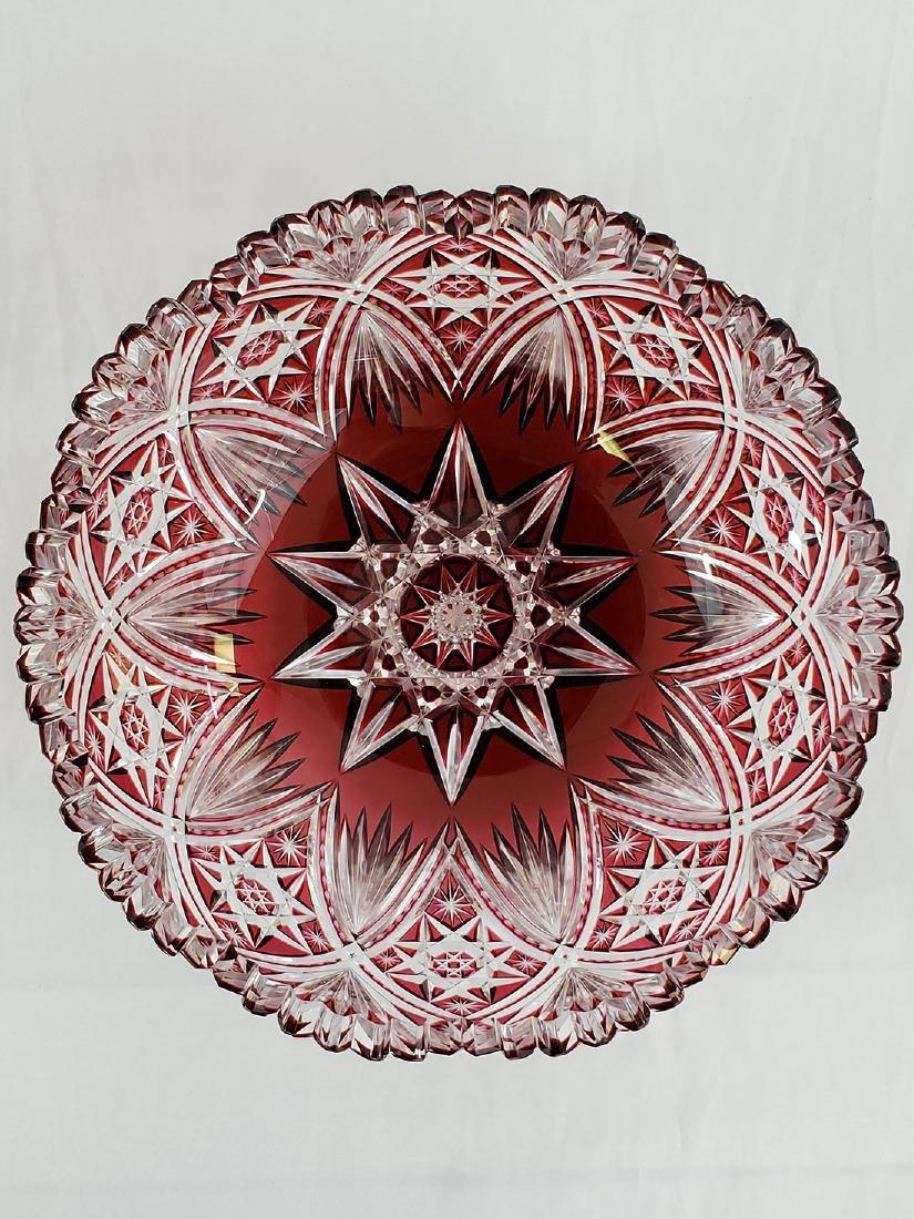 A Fine Antique Cut To Clear Cut Glass Cranberry Bowl - 9