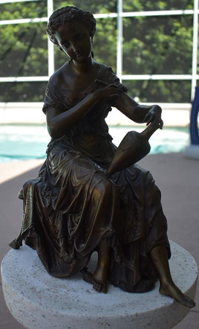 Antique Bronze Doriot Bronze Of A Seated Woman 19c