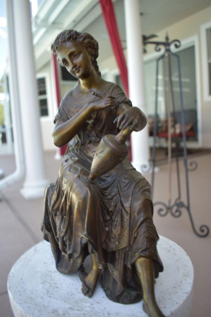 Antique Bronze Doriot Bronze Of A Seated Woman 19c - 4