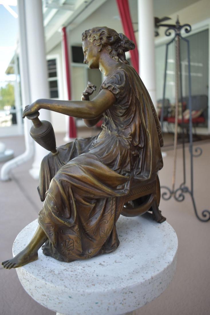 Antique Bronze Doriot Bronze Of A Seated Woman 19c - 5