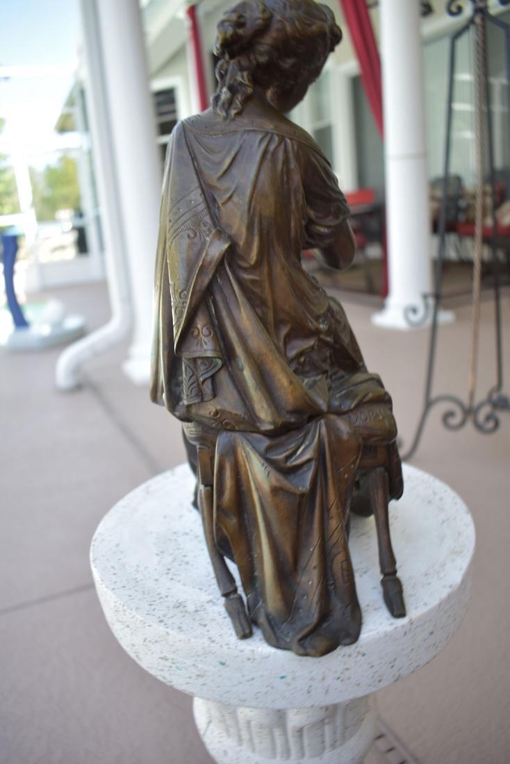Antique Bronze Doriot Bronze Of A Seated Woman 19c - 6
