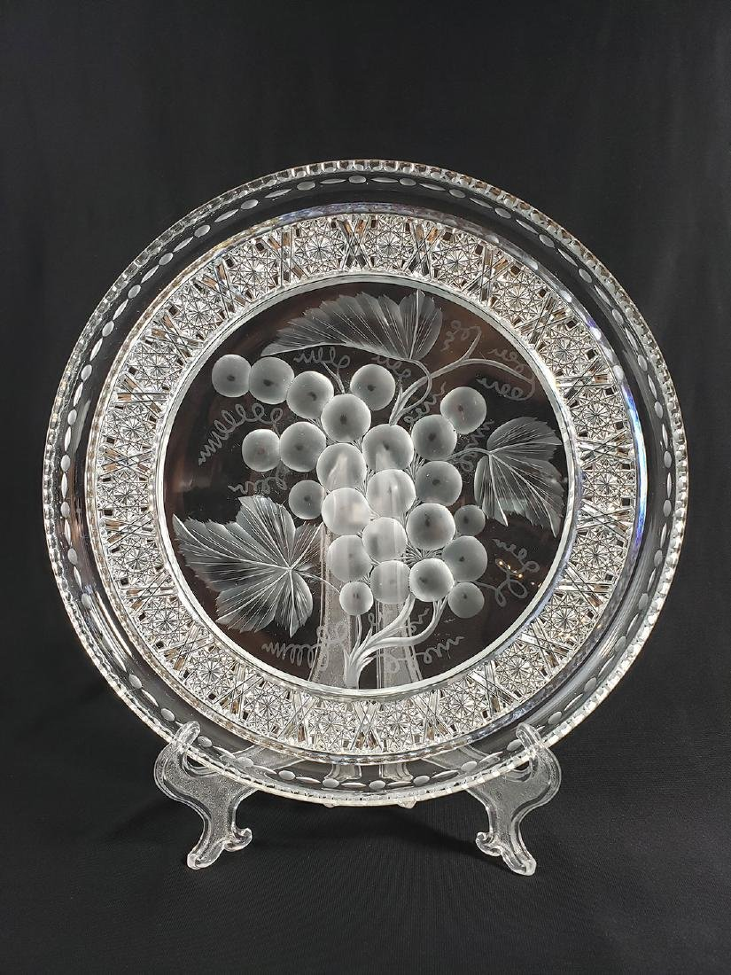 """A Fine Antique Signed Tuthill Cut Glass Tray """"Vintage"""" - 2"""