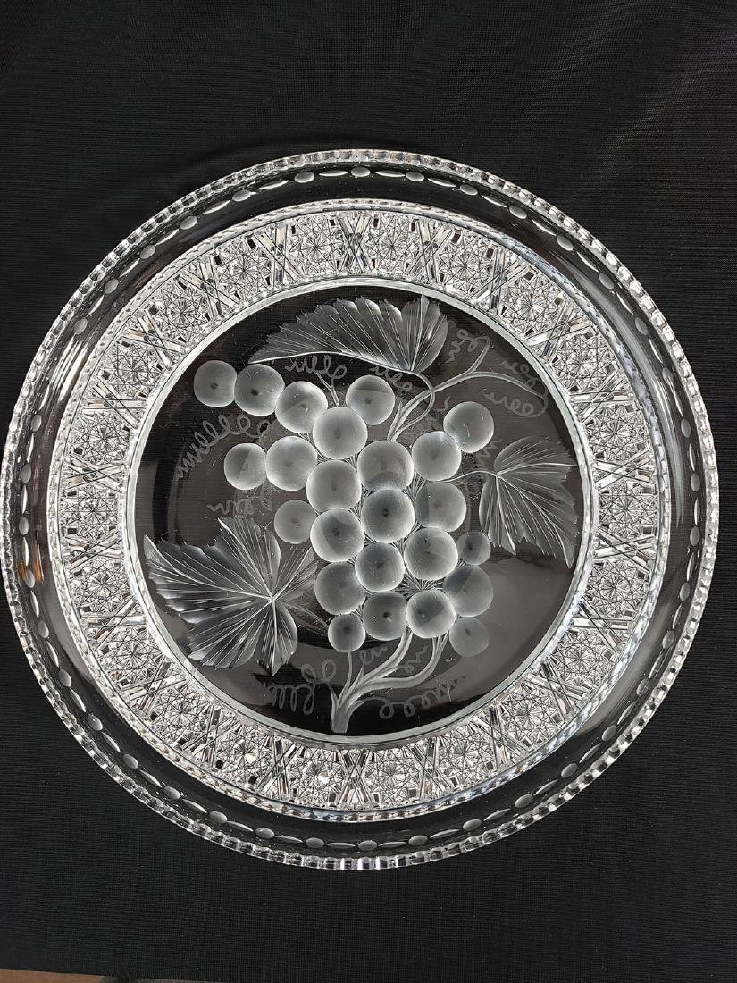 """A Fine Antique Signed Tuthill Cut Glass Tray """"Vintage"""" - 3"""