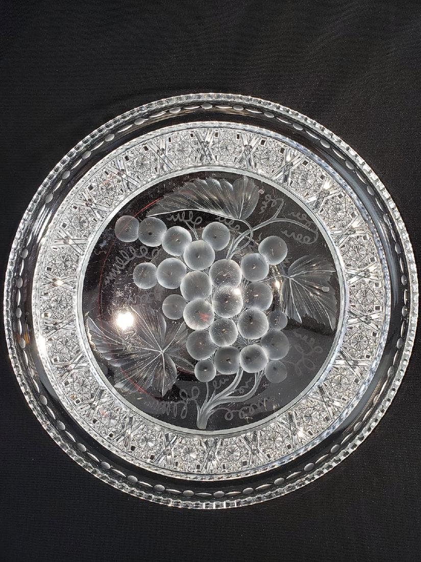 """A Fine Antique Signed Tuthill Cut Glass Tray """"Vintage"""" - 4"""
