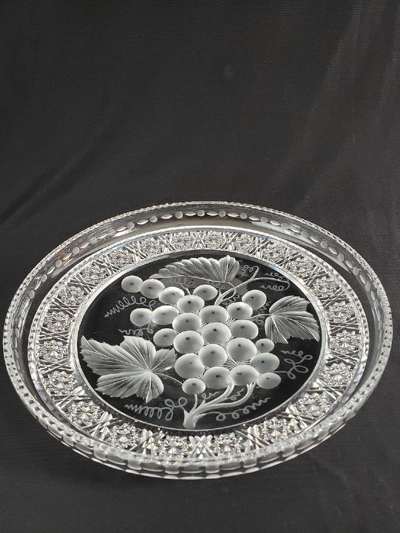 """A Fine Antique Signed Tuthill Cut Glass Tray """"Vintage"""" - 9"""
