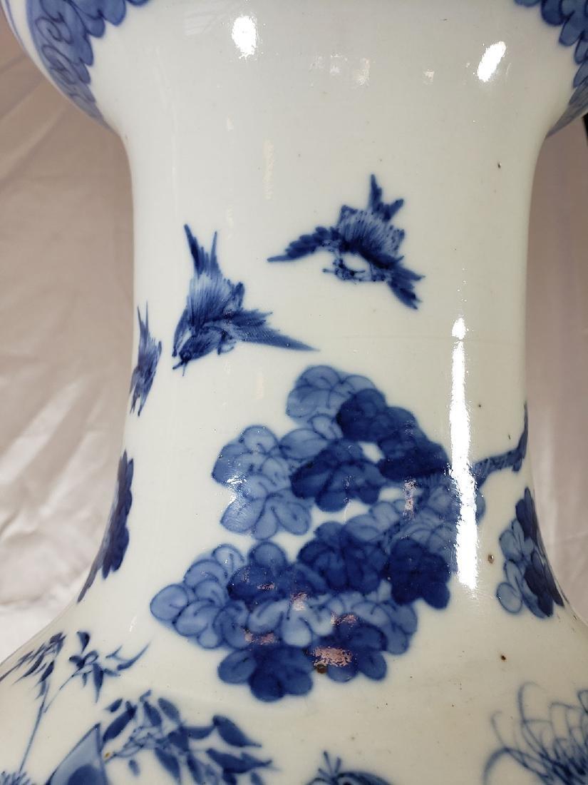 Fine Lg Antique Chinese Blue & White Vase 19C W/ BIrds - 10