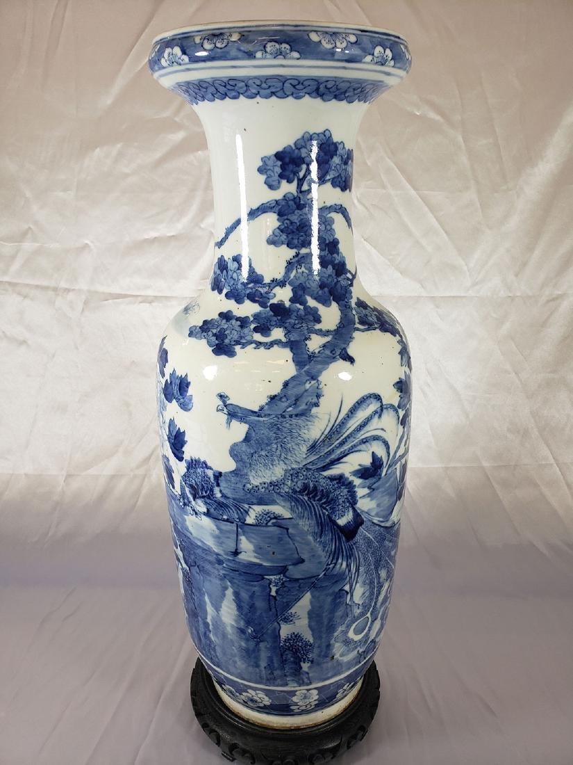 Fine Lg Antique Chinese Blue & White Vase 19C W/ BIrds - 2