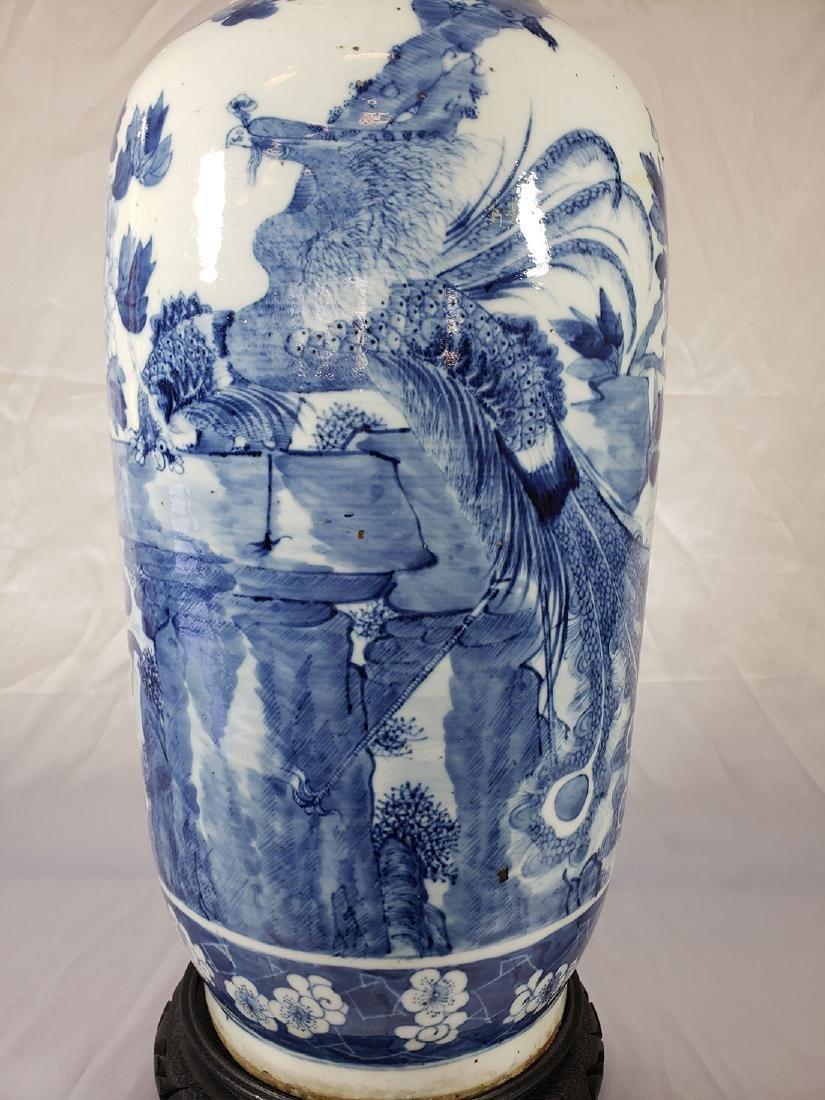 Fine Lg Antique Chinese Blue & White Vase 19C W/ BIrds - 3
