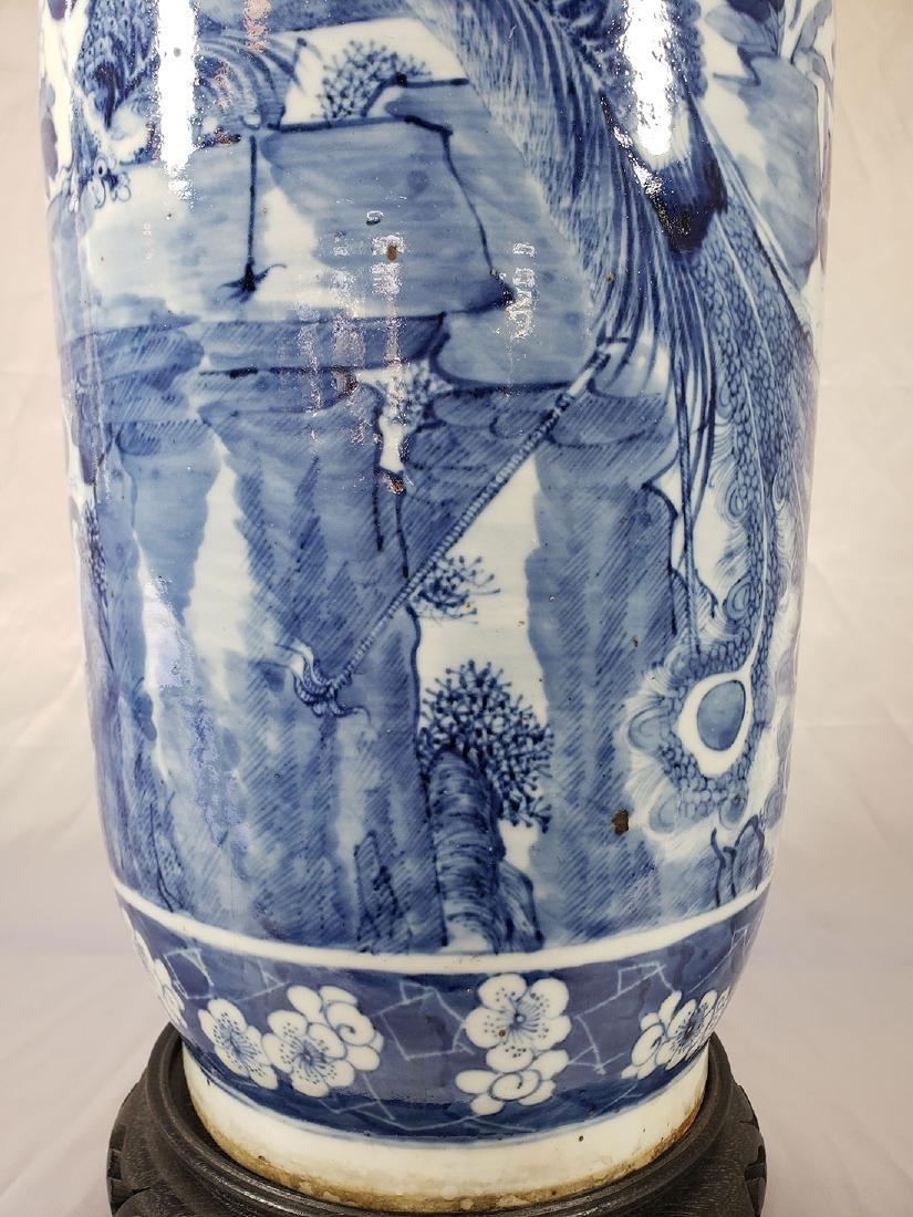 Fine Lg Antique Chinese Blue & White Vase 19C W/ BIrds - 4