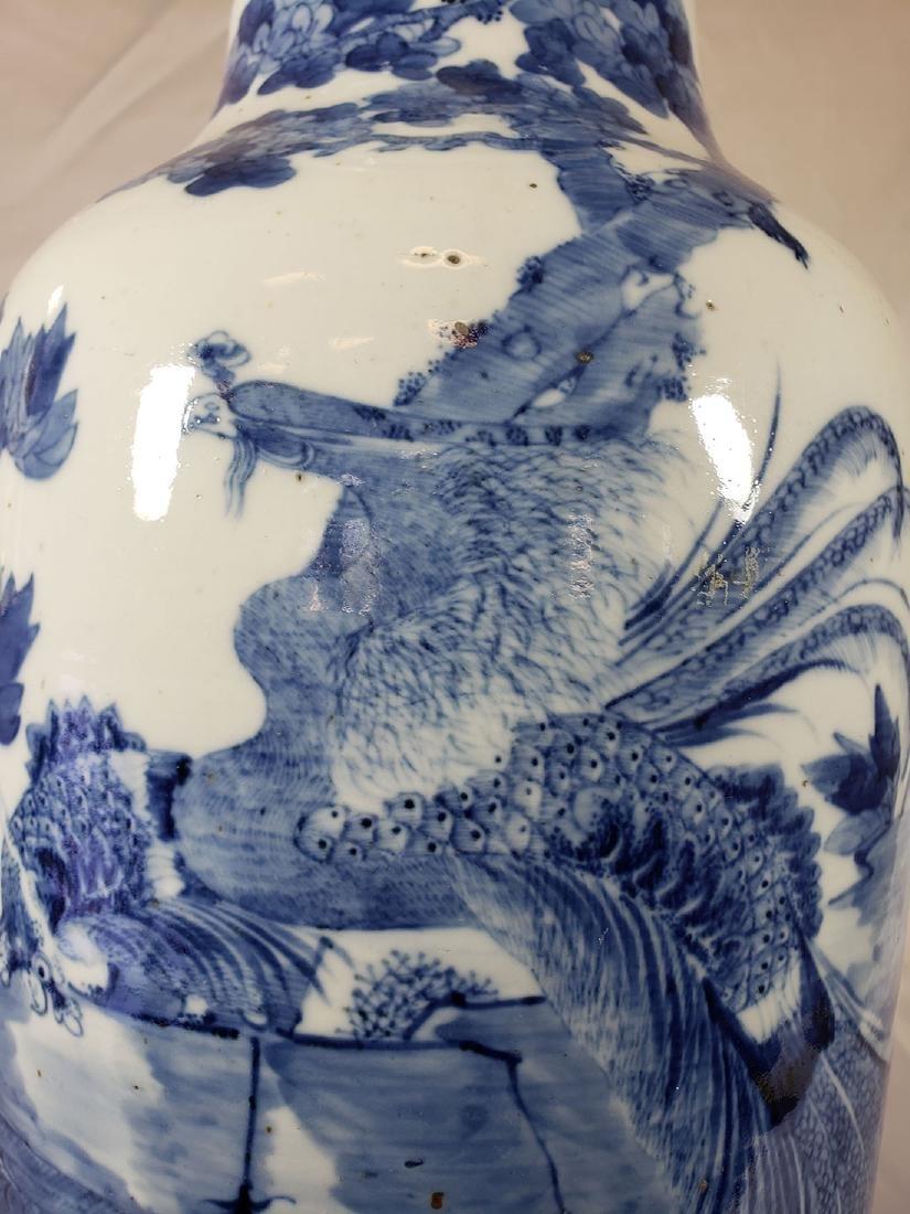Fine Lg Antique Chinese Blue & White Vase 19C W/ BIrds - 5