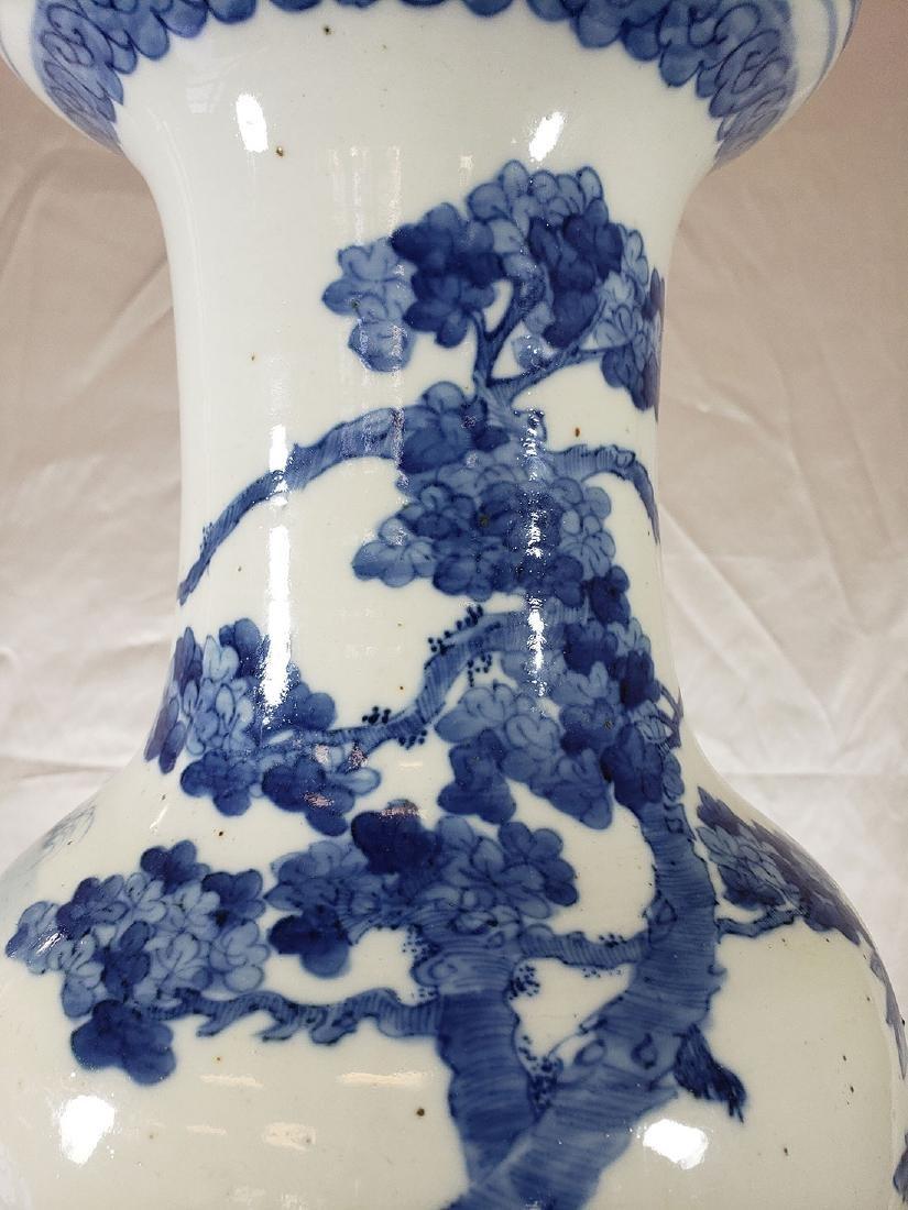 Fine Lg Antique Chinese Blue & White Vase 19C W/ BIrds - 6