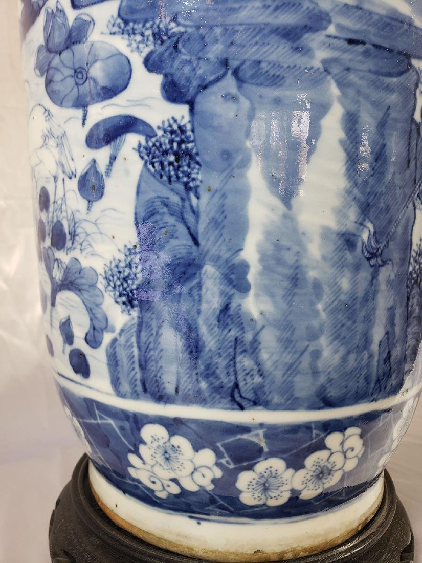 Fine Lg Antique Chinese Blue & White Vase 19C W/ BIrds - 8