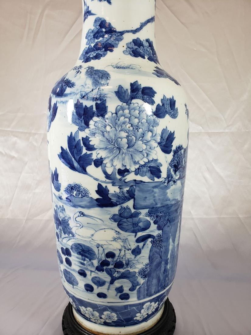 Fine Lg Antique Chinese Blue & White Vase 19C W/ BIrds - 9