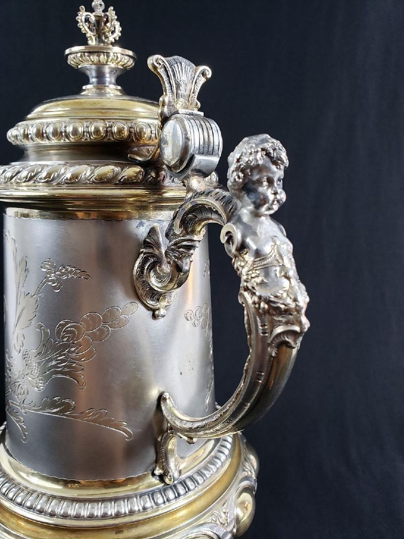 Fine Victorian Antique Sterling Silver Beer Stein MARK. - 10