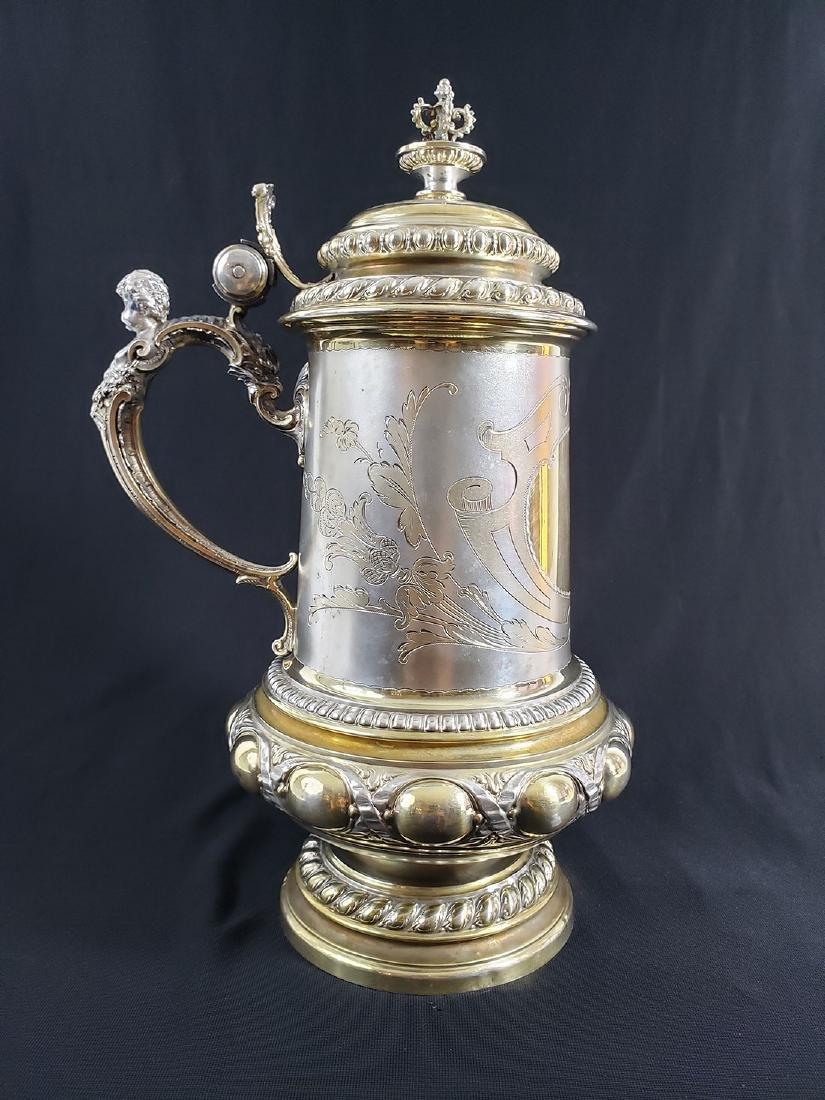 Fine Victorian Antique Sterling Silver Beer Stein MARK. - 2