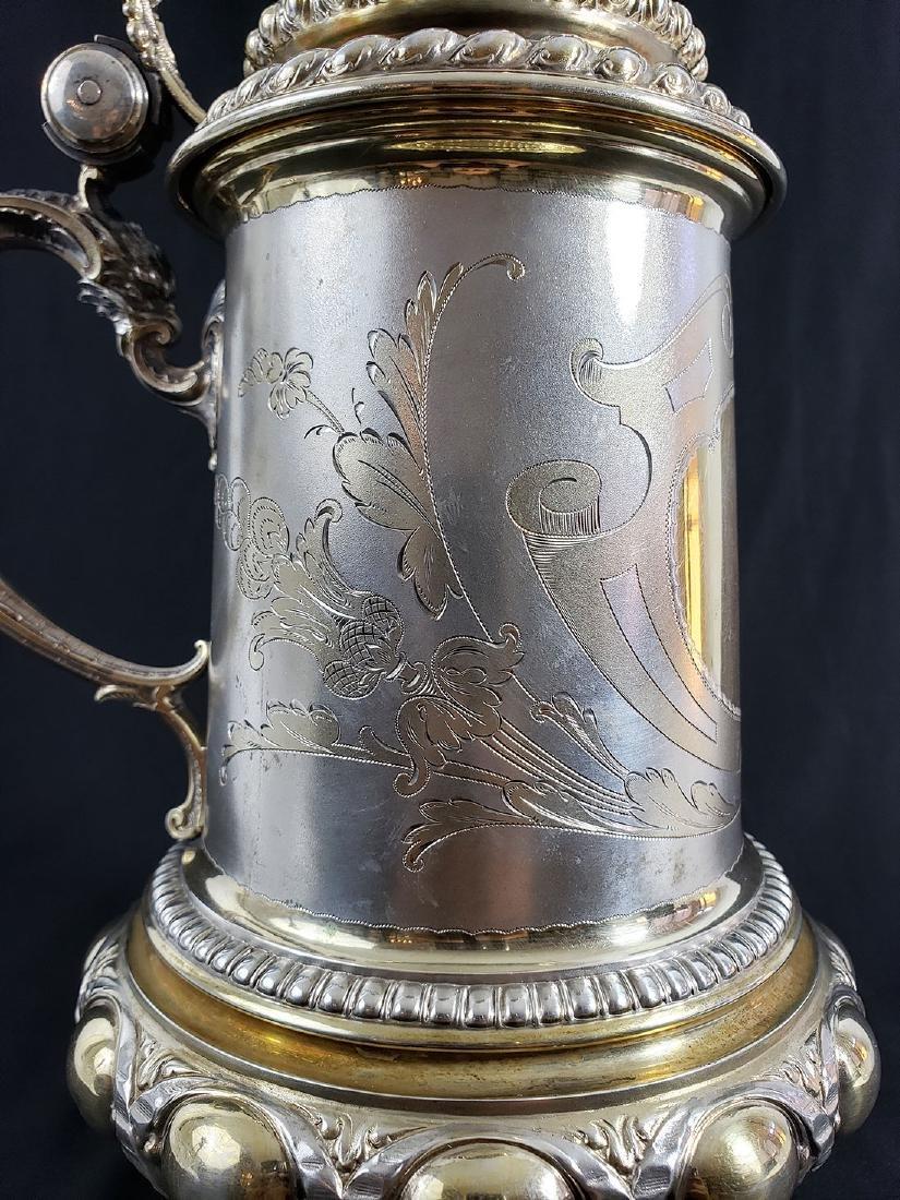 Fine Victorian Antique Sterling Silver Beer Stein MARK. - 3