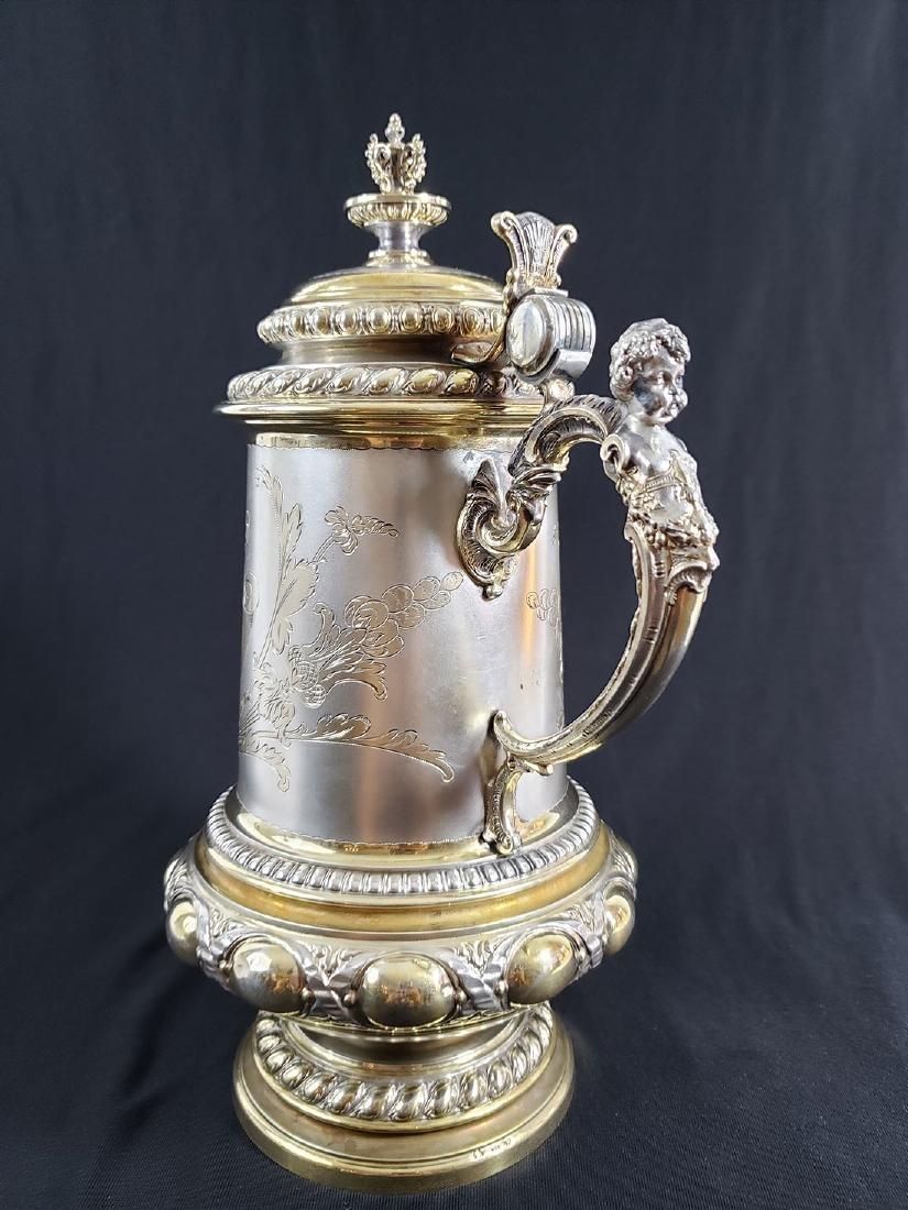 Fine Victorian Antique Sterling Silver Beer Stein MARK. - 9