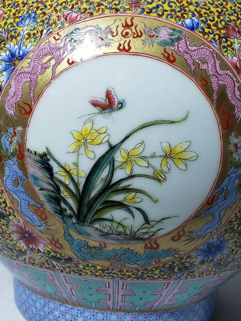 A Very Fine Lg Chinese Famille Rose Enamel Vase Mark - 10