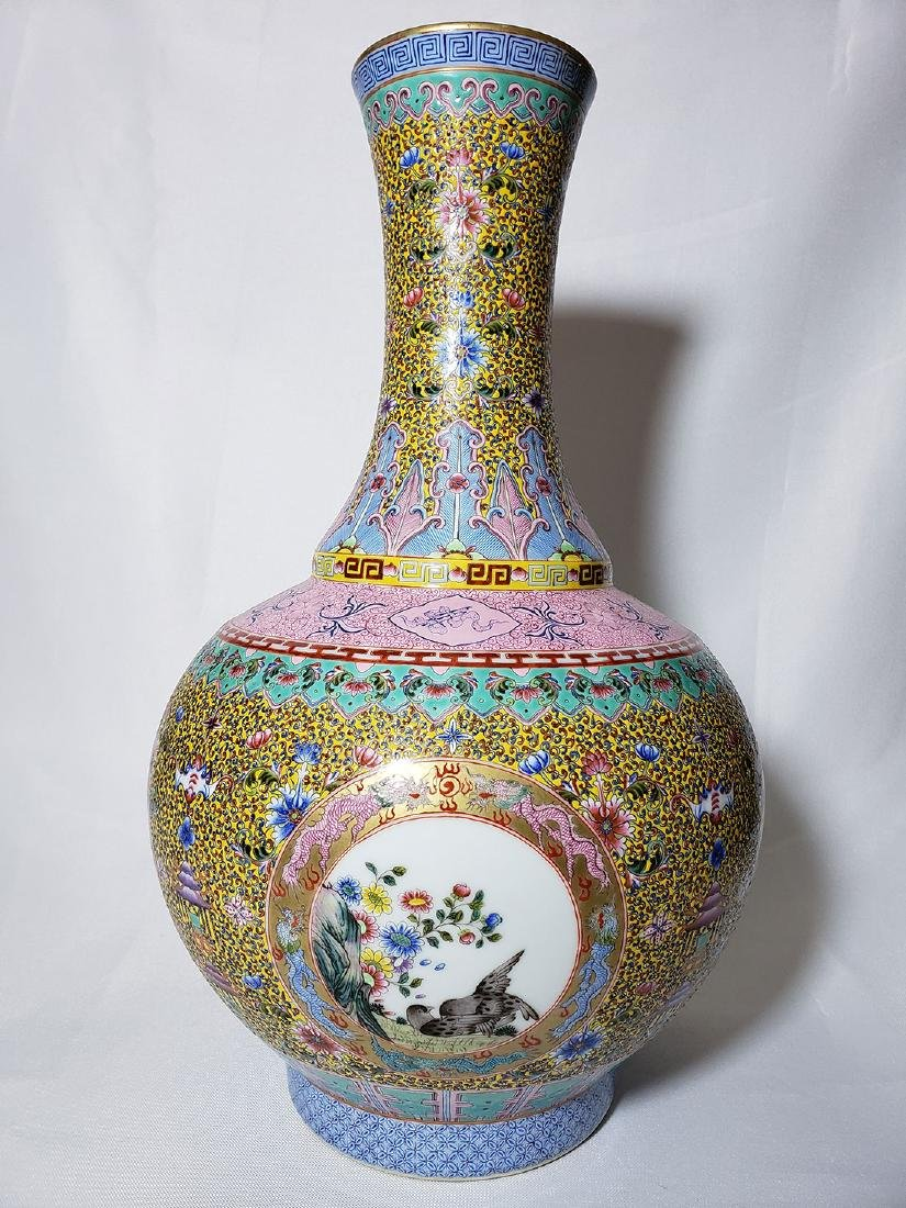A Very Fine Lg Chinese Famille Rose Enamel Vase Mark