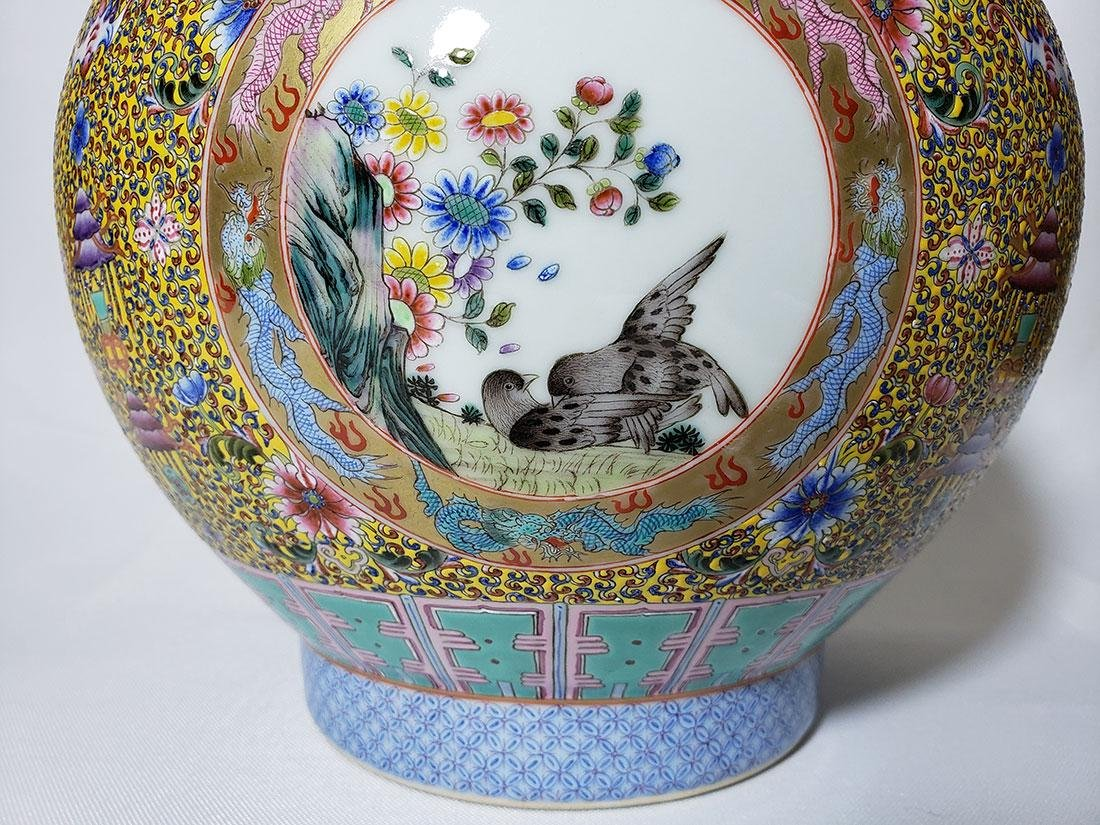 A Very Fine Lg Chinese Famille Rose Enamel Vase Mark - 2