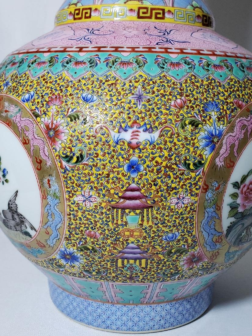 A Very Fine Lg Chinese Famille Rose Enamel Vase Mark - 7