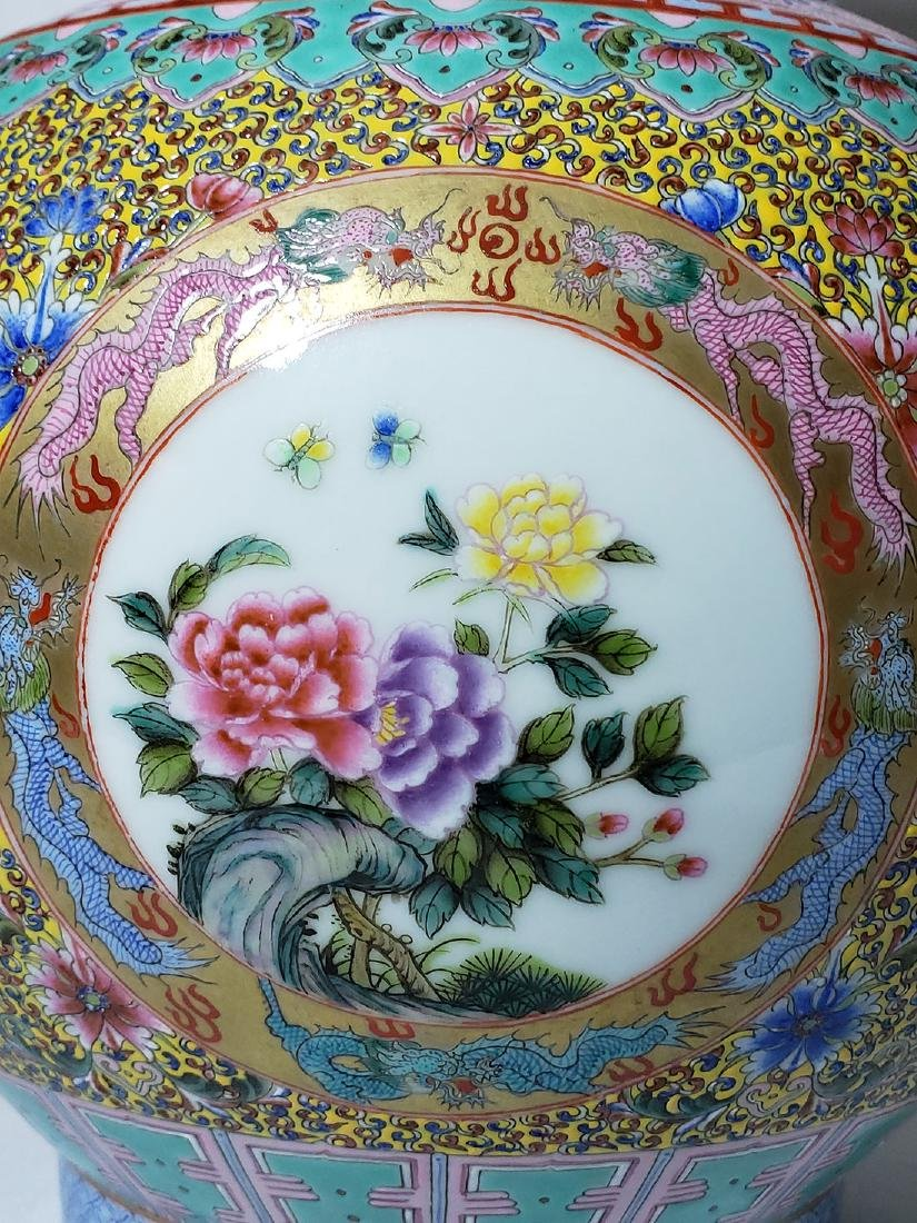 A Very Fine Lg Chinese Famille Rose Enamel Vase Mark - 8