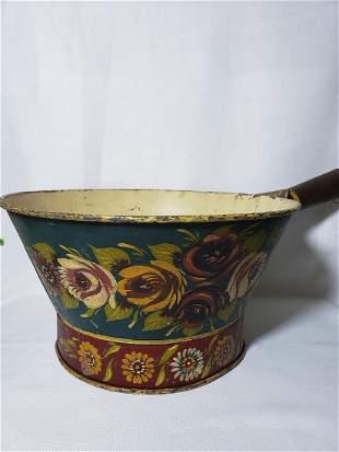 Antique Toleware Bowl w Handle