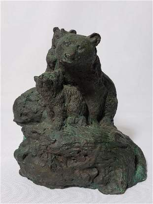 Signed Solid Bronze Grouping Bears