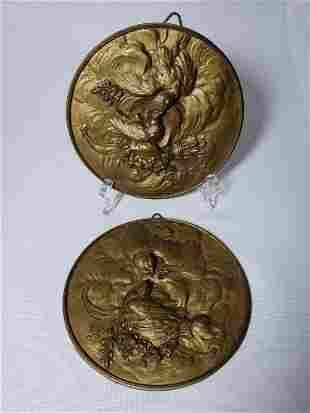 Pair Of Antique Bronze Plaques wBirds 19th C