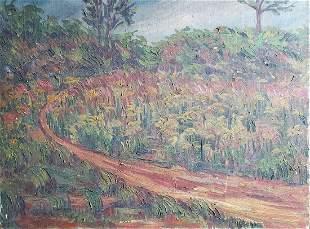 Antique Impressionist Landscape Signed Tanku