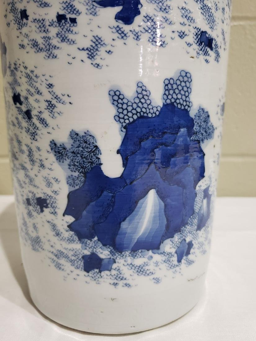 A Fine Chinese Transitional  Blue And White Vase 19th c - 5