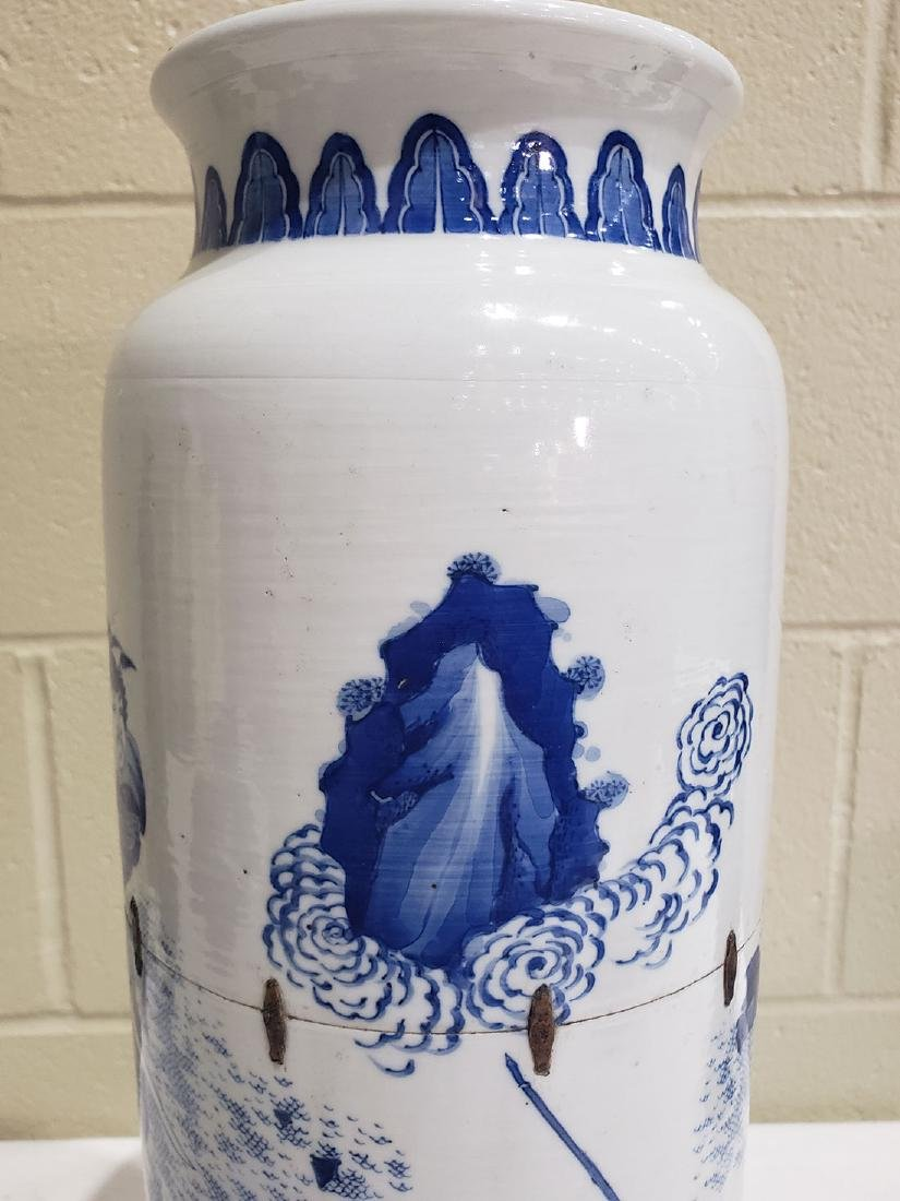A Fine Chinese Transitional  Blue And White Vase 19th c - 6