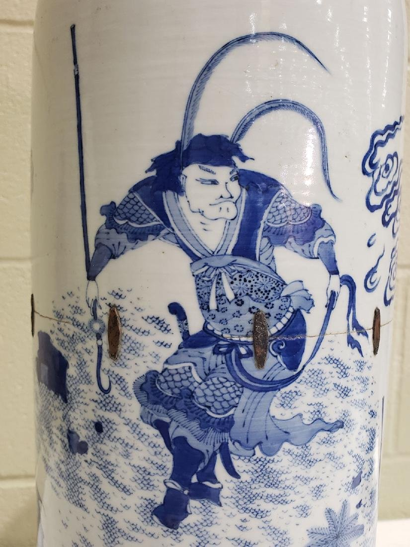 A Fine Chinese Transitional  Blue And White Vase 19th c - 9
