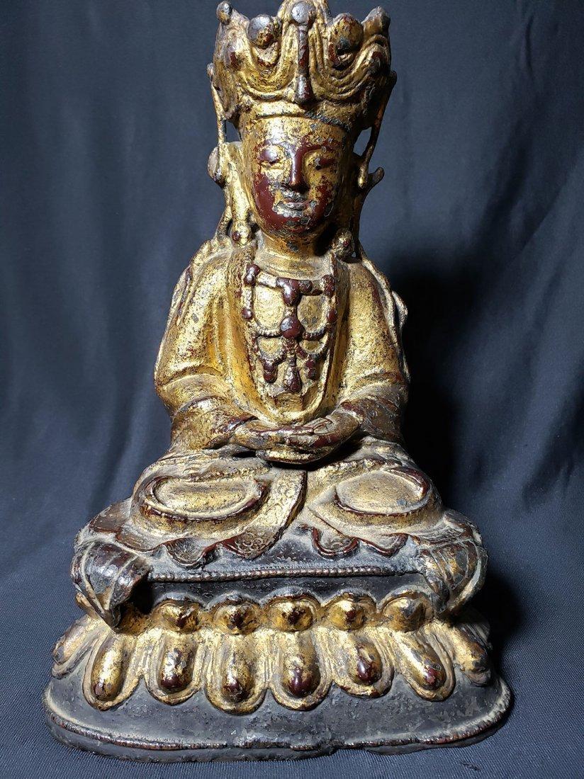 Antique Chinese Gilt Bronze Buddha 17-18th Century