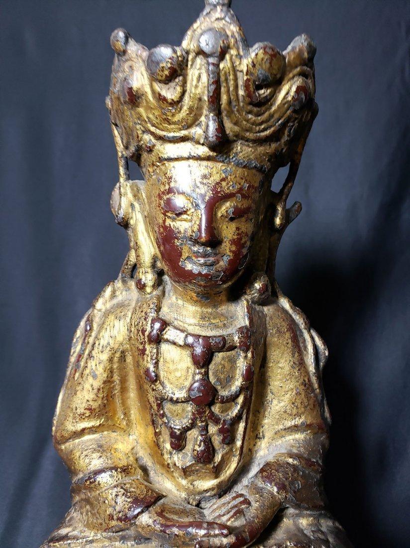 Antique Chinese Gilt Bronze Buddha 17-18th Century - 2