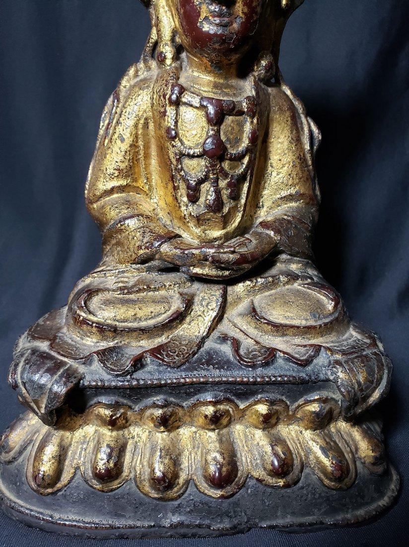 Antique Chinese Gilt Bronze Buddha 17-18th Century - 5