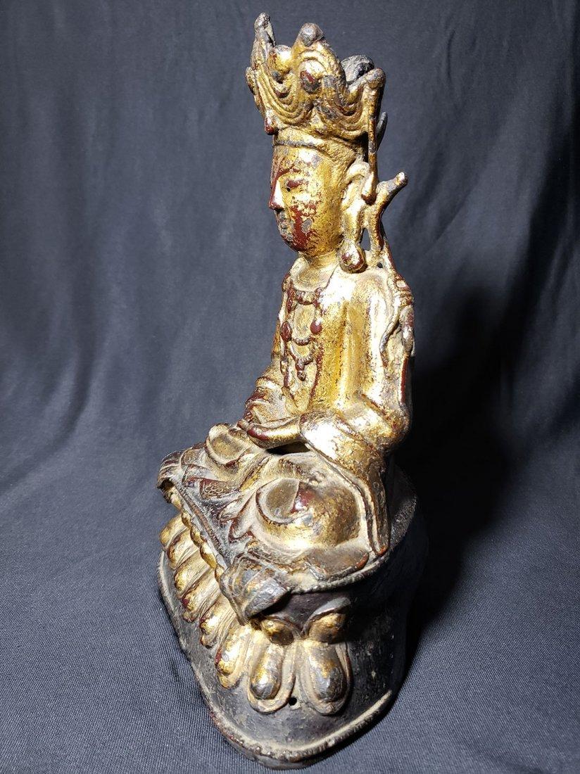 Antique Chinese Gilt Bronze Buddha 17-18th Century - 6