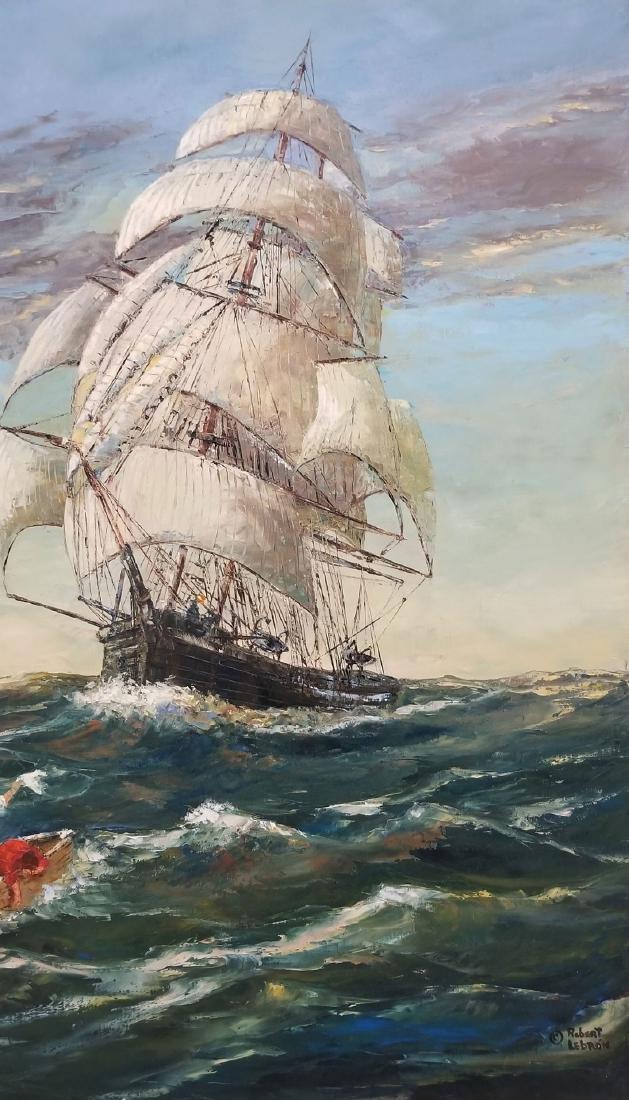 Signed Robert Lebron Seascape Painting - 3