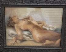 Signed Fried Pal Erotic Nude Pastel Painting 1893-1976