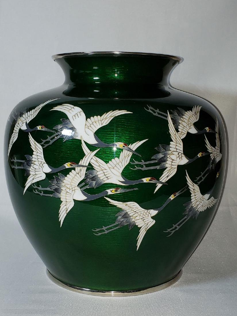 Lg Antique Japanese Cloisonne Enamel Vase w/ Cranes