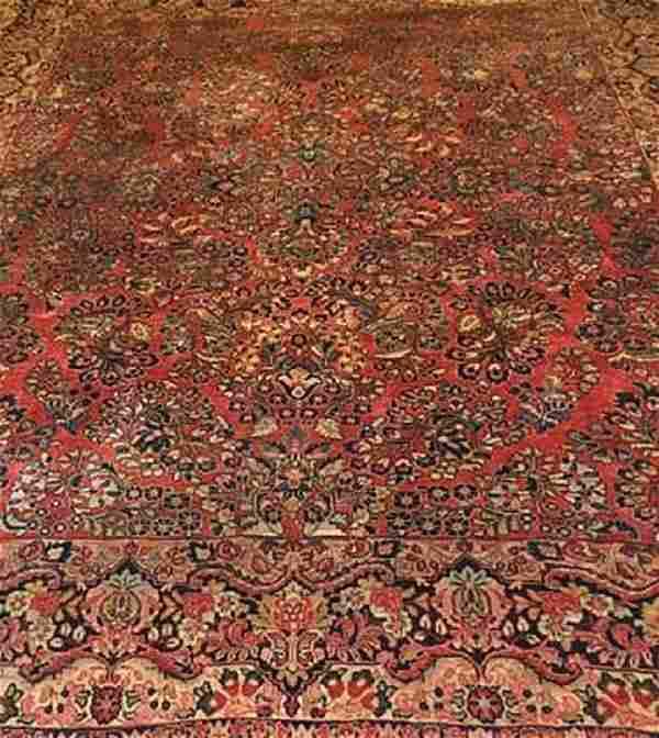 Antique Sarouk Fine Rug Persian Wool 1920's