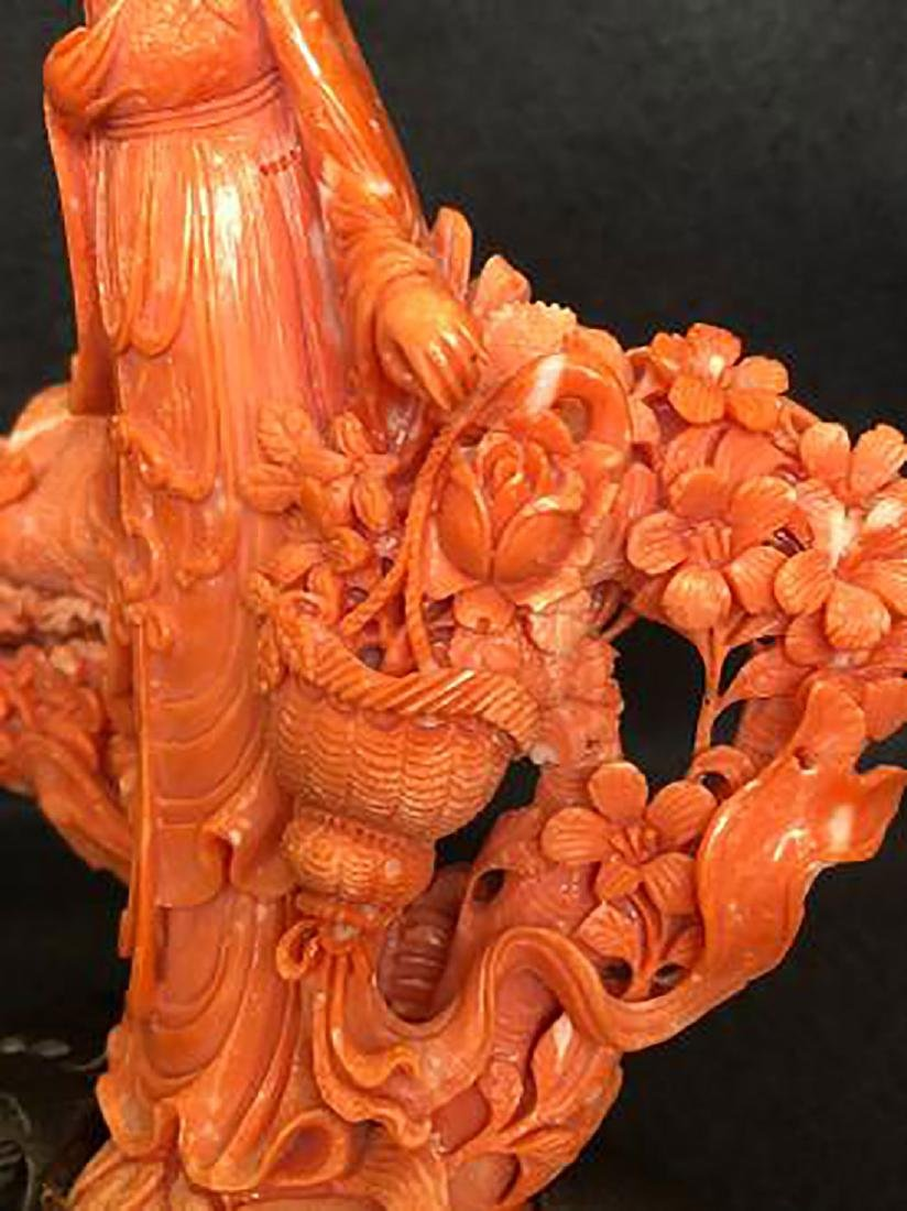 An Exquisite Carved Chinese Red Coral Kwan Yin 650G - 2