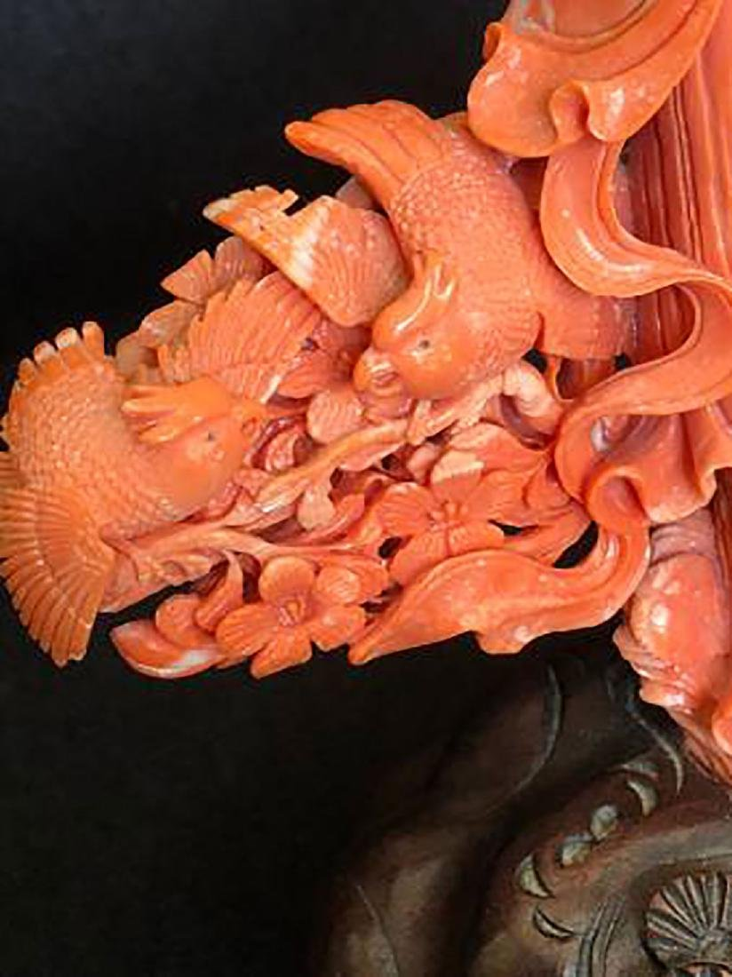 An Exquisite Carved Chinese Red Coral Kwan Yin 650G - 7