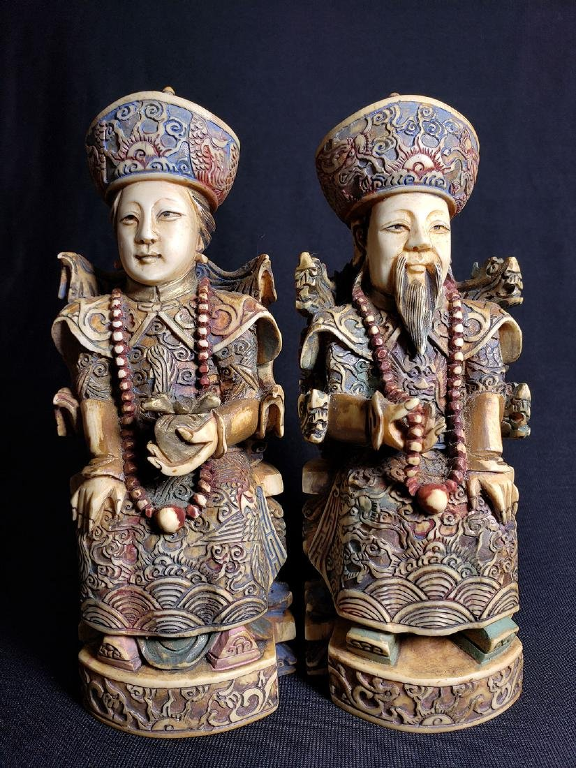 Pair Of Fine Chinese Carved Figures with Marks 19th C