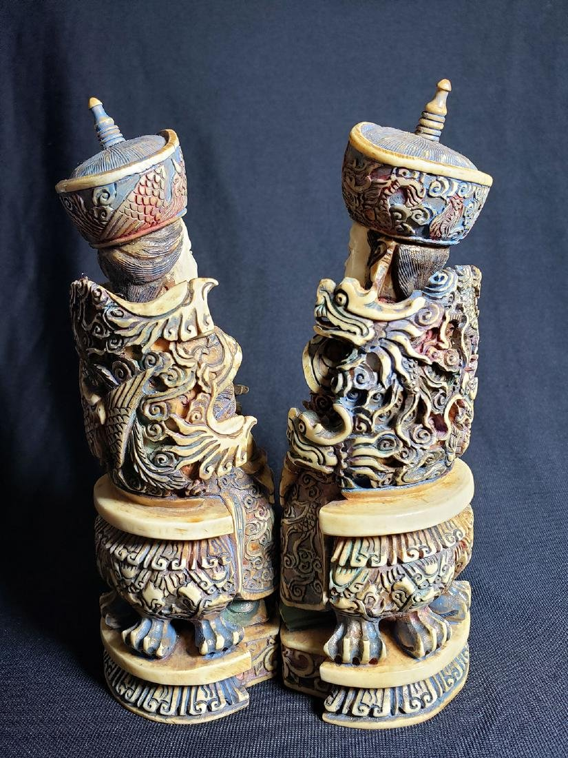Pair Of Fine Chinese Carved Figures with Marks 19th C - 4