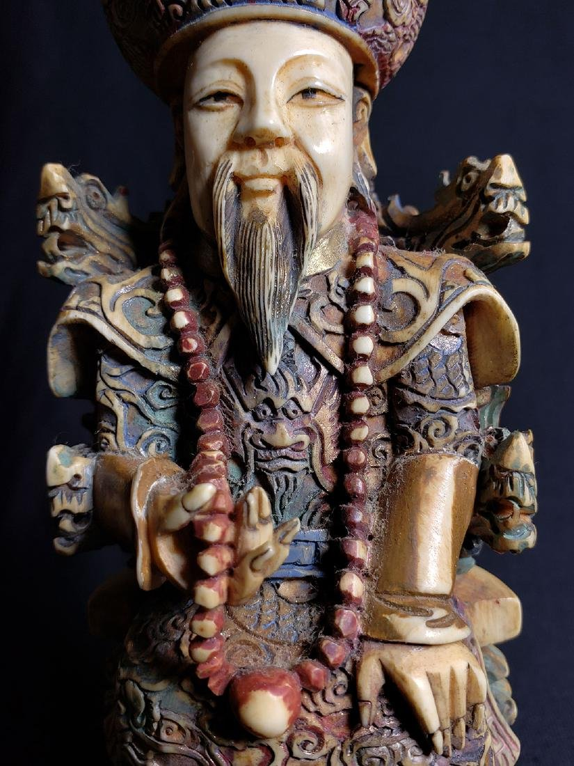 Pair Of Fine Chinese Carved Figures with Marks 19th C - 8
