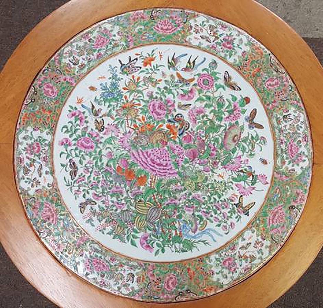 Antique Chinese Rose Medallion Tile / Plaque Table