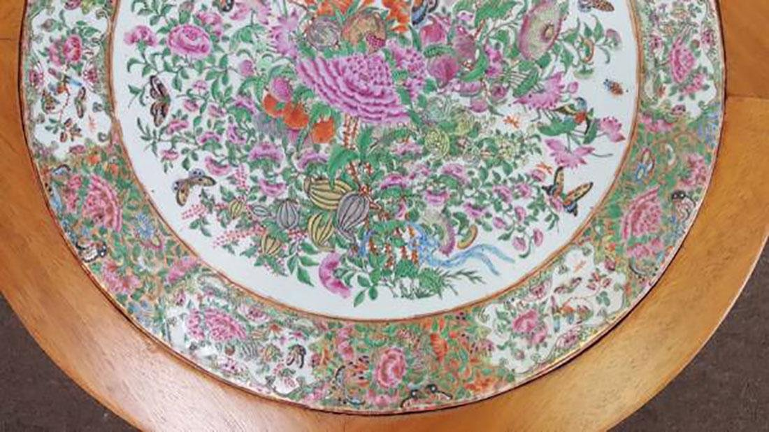 Antique Chinese Rose Medallion Tile / Plaque Table - 3