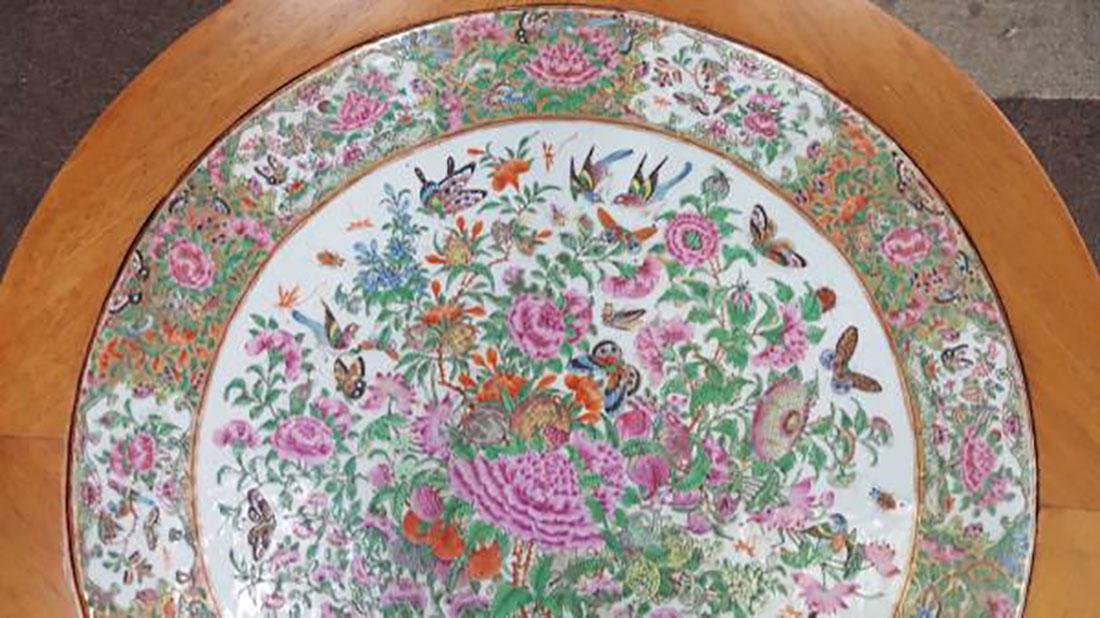 Antique Chinese Rose Medallion Tile / Plaque Table - 5