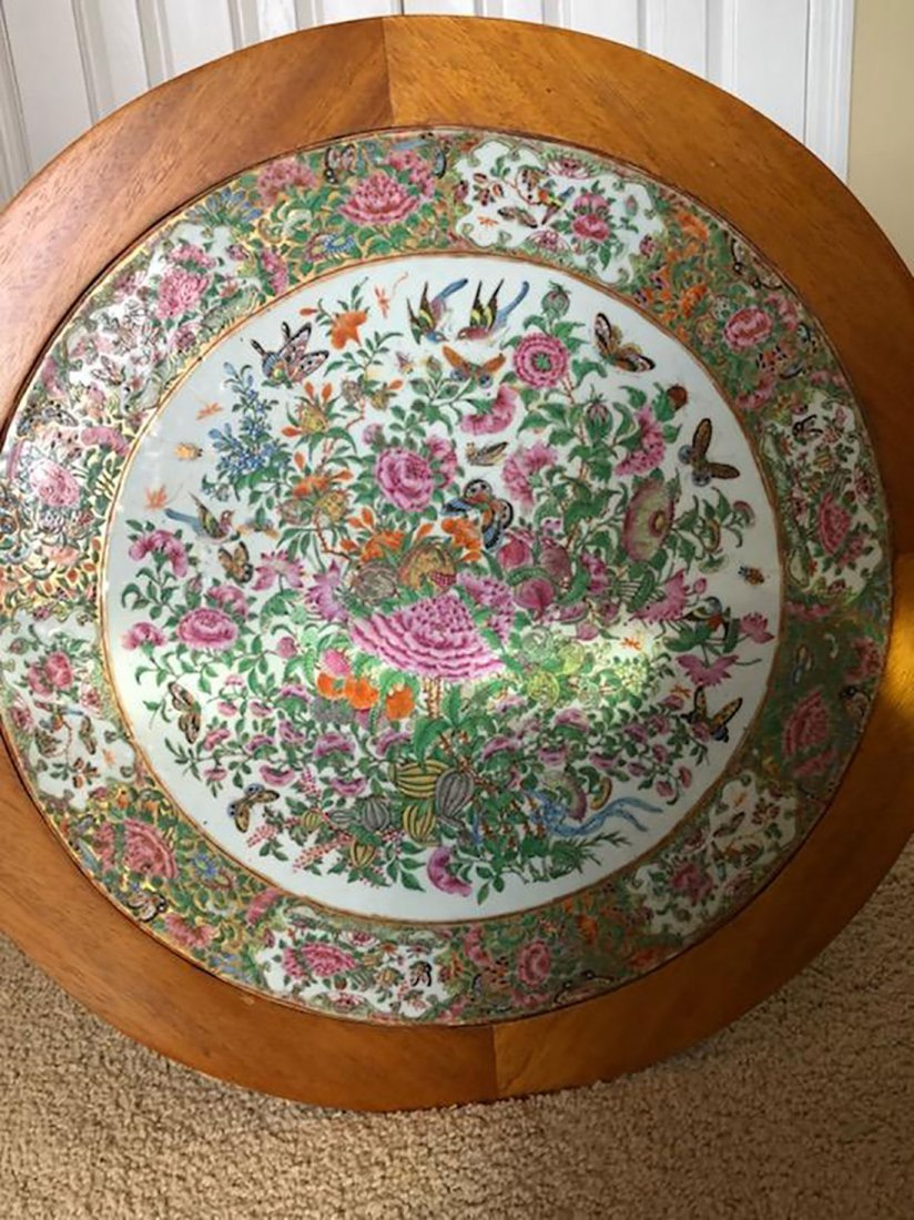 Antique Chinese Rose Medallion Tile / Plaque Table - 9